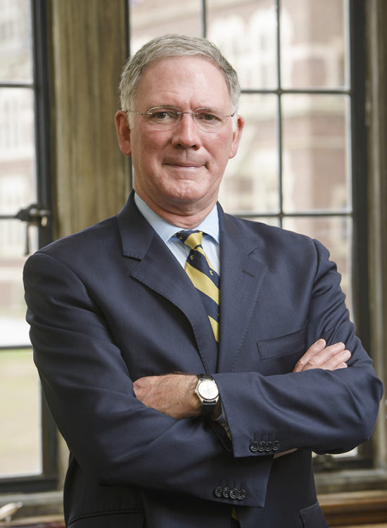 James F. Jones Jr., retiring president of Trinity College in Hartford, Conn.